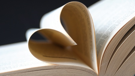 pages of a book curved a heart photo