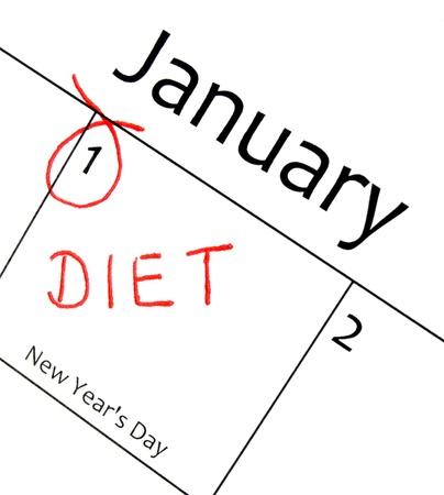 meses del a�o: calendario marca el inicio de una resoluci�n de a�o nuevo en letra Roja Foto de archivo