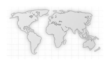 international monitoring: illustration of a colored world map isolated on white background