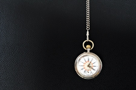 old pocket watch on a  leather texture