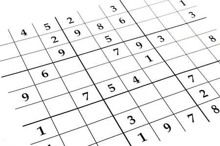 close up of an unfinished sudoku puzzle photo