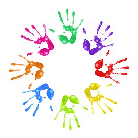 adversity: a lot of colorful hand prints on white background