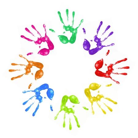 ontbering: een heleboel kleurrijke hand wordt afgedrukt op witte achtergrond