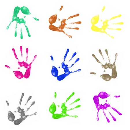 a lot of colorful hand prints on white background Stock Photo - 9135988