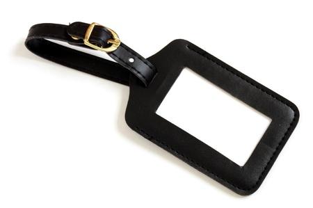 black leather suitcase label isolated on white background Stock Photo - 9135986