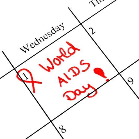 calendar marking the 1st december world aids day in red letter photo
