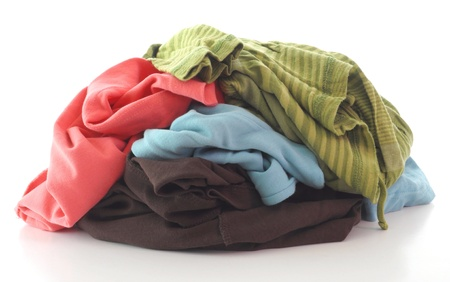 a pile of dirty clothing isolated on white background Stock Photo - 9249637