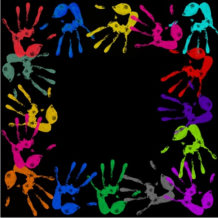 a lot of colorful hand prints on black background photo