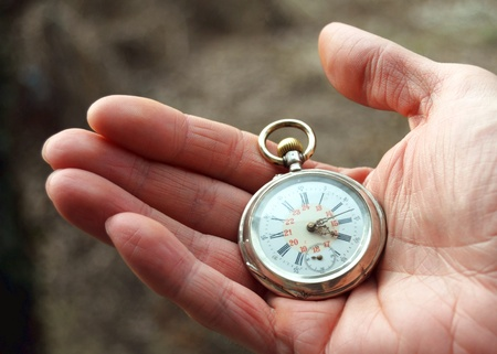 pocket watch: human hand holding a old pocket watch  Stock Photo