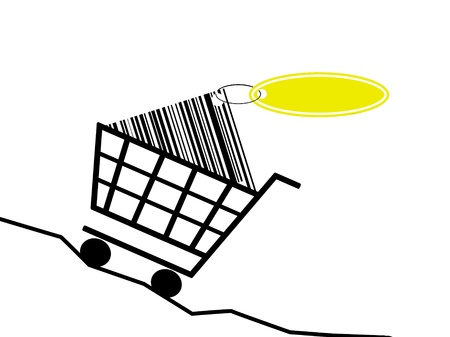 rising prices: a shopping basket scale the rising prices. Stock Photo