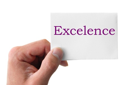 hand holding a card with the word excelence Stock Photo - 9465362
