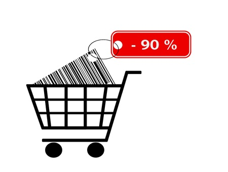 shopping cart with bar code and label isolated on white background Stock Photo - 9465361