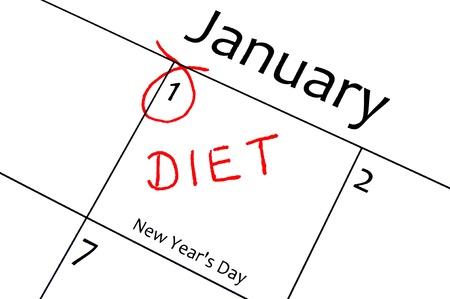 meses del a�o: calendario que marca el inicio de una resoluci?n de a?o nuevo en la carta de color rojo