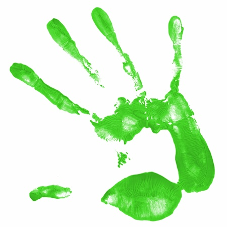 hand painting: a hand print with green color istolated on white background