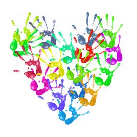racisme: een heleboel kleurrijke hand wordt afgedrukt op witte achtergrond