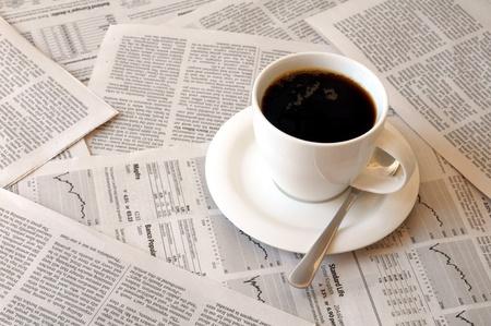 cofffee: good morning cofffee break with reading the newspaper Stock Photo