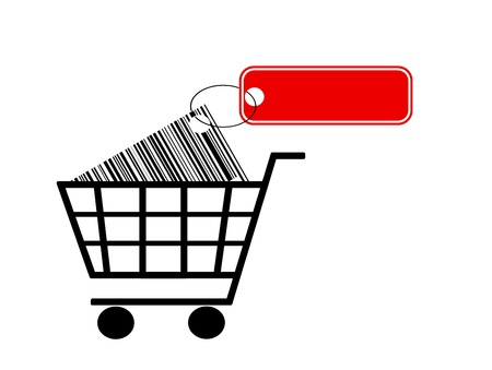 shopping cart with bar code and label isolated on white background Stock Photo - 10425590