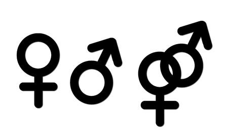 sexsual union symbols, isolated on white backgounrd Stock Photo - 10425589