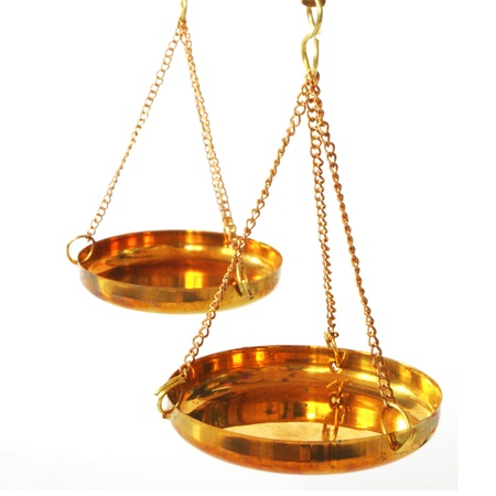 legitimacy: antique balance scale with empty pans on white background Stock Photo