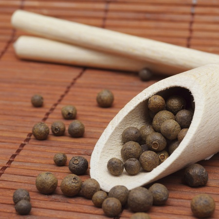 pigment: aromatic spices of pigment on bamboo background
