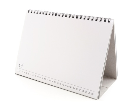 almanak: leeg bureaublad kalender met kopie ruimte voor tekst, vormgeving en grafisch op een witte achtergrond Stockfoto