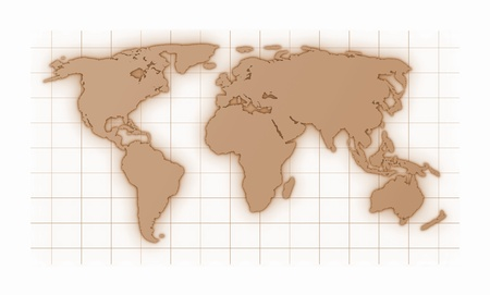 reticule: illustration of a colored world map isolated on white background