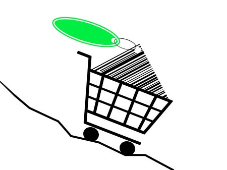 a shopping basket drive of a sinking prices kurve Stock Photo - 11148279