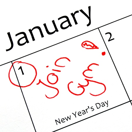 calendar marking the start of a new year resolution in red letter Foto de archivo