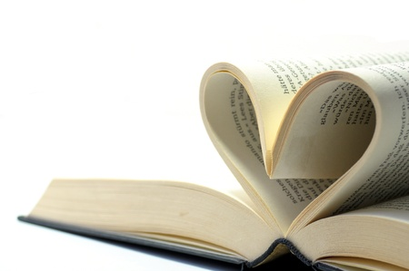 open book with pages in the form of a heart