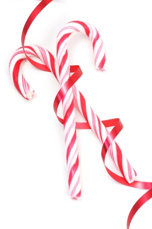 Christimas candy canes isolated on a white background