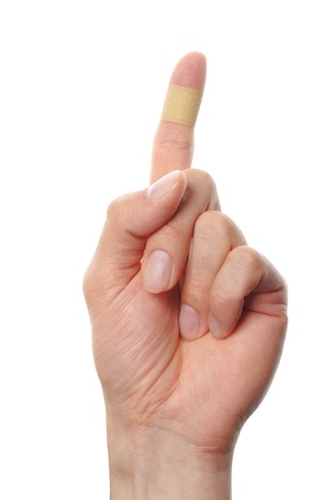band aid plaster applied to a finger
