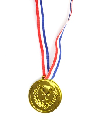 gold medal with ribbon on white background Foto de archivo