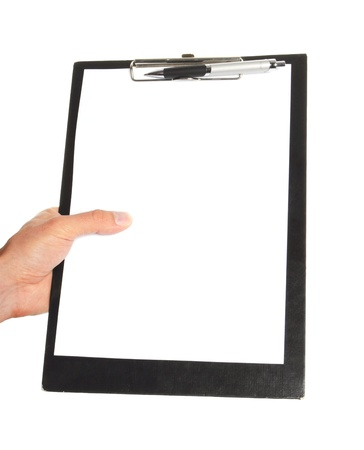 clipboard isolated: businessman holding a clipboard and write on it, isolated on white background