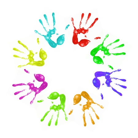 handprints: a lot of colorful hand prints on white background
