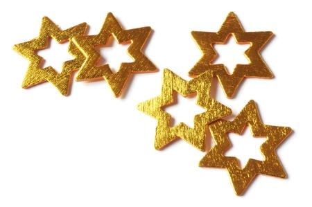 celebratory: wooden gold stars isolated on white background
