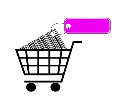 shopping cart with bar code and label isolated on white background Stock Photo - 11937946