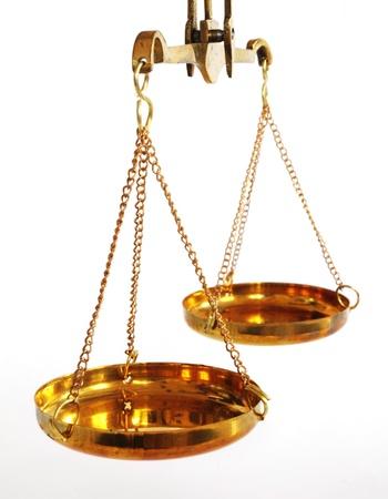 legitimacy: antique balance scale with empty pans on white background Stock Photo