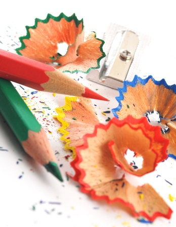 red, blue and green pencil shaving on white background Stock Photo - 12623423