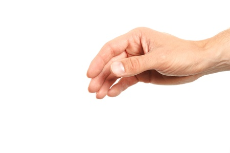 human hand reaching for something isolated on white background photo