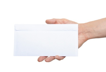 hand giving a blank envelope isolated on white background photo