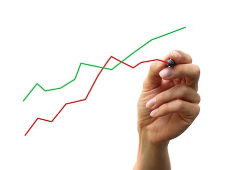 a human hand drawing a business chart isolated on a white background photo