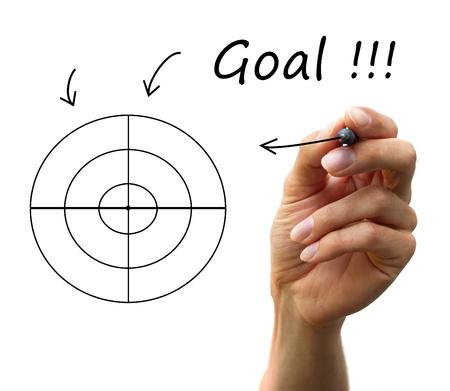 human hand draw arrows, a lot of options to arrive a goal Standard-Bild