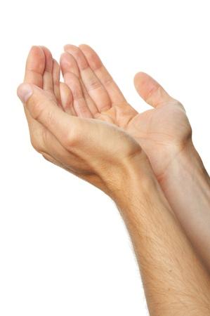 manos orando: manos en oración de un hombre aislado en el fondo blanco