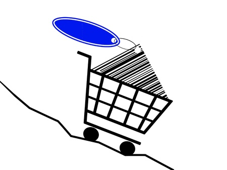 a shopping basket drive of a sinking prices kurve Stock Photo - 13238406