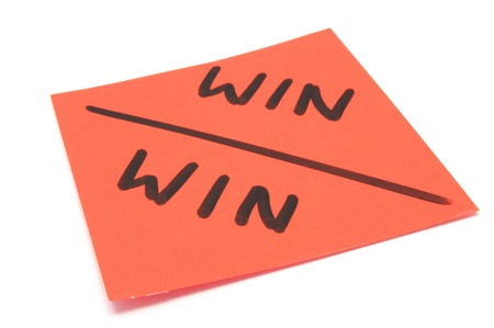 post it note marked win-win on isolated white background Stock Photo - 13238743