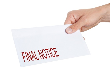 hand giving an envelope with Final Notice on it Stock Photo - 13634551