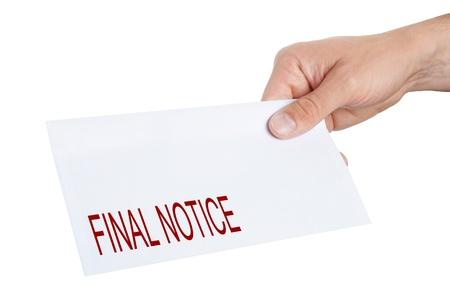 sobres de carta: Por dar un sobre con aviso final sobre el mismo