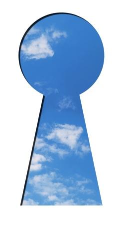 latency: blue sky seen through the keyhole Stock Photo