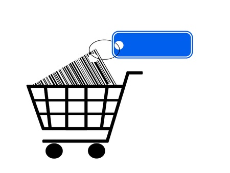 shopping cart with bar code and label isolated on white background Stock Photo - 13952343