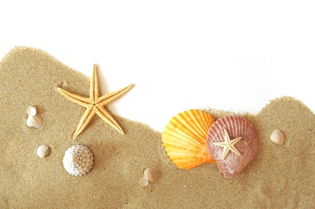 relaxion: beach sand, shells and seastar border on white Stock Photo
